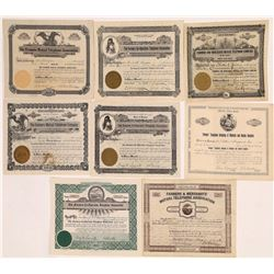 """""""Farmers"""" Related Telephone & Telegraph Company Stock Certificates  (126385)"""