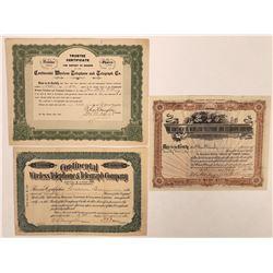 Continental Wireless Telephone & Telegraph Co. Stock Certificate Trio  (126406)