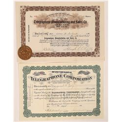 Two Different Telegraphone Stock Certificates  (126250)