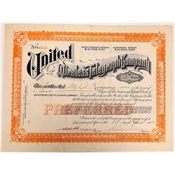 United Wireless Telegraph Company Stock Certificate  (126442)