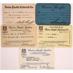 Union Pacific Railroad Passes - 5  (126666)