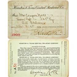 Houston & Texas Central Railroad Co. Railroad Pass  (91242)