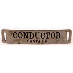 Santa Fe Railroad Rectangular Conductor Hat Badge  (126640)
