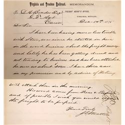 Virginia and Truckee Railroad Freight Agent Repossession Note  (122519)