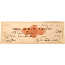 Bank of Butte County Check with Autograph of John Bidwell  (123709)