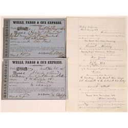 Handwritten Incorporation Paper and two Wells Fargo Express documents, 1850's  (123736)
