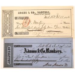 Two Mokelumne Hill, Adams & Co. Bankers Checks, 1854  (123743)