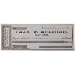 "Chas. W. Mulford, Banker, Nevada, California with imprinted ""Gold Dust Bought""  (123710)"
