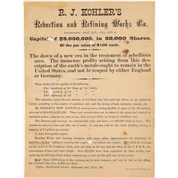 R. J. Kohler's Reduction and Refining Works Broadside San Francisco