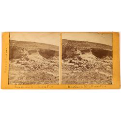 Mains & Shippy Stereoview - Scenes in California - Blue Gravel Mine at Sucker Flat   (123699)