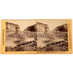 Lawrence & Houseworth Stereoview of Hydraulic Mining near Timbuctoo, Yuba County  (123706)