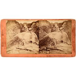 Thomas Houseworth Stereoview - Hydraulic Mining #795– Hydraulic Mining - Behind the Pipes, Timbuctoo