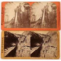 Long Toms used in Hydraulic Mining Stereoviews (123700)
