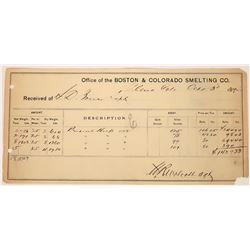 Boston & Colorado Smelting Co. Silver Ore Samples Receipt  (123629)