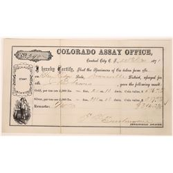 Colorado Assay Office assay for the Blue Ridge Lode, Downeville District, Colorado Territory  (12363
