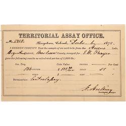 Georgetown Territorial Assay Office Assay, Colorado, 1872  (123570)