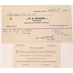 W. S. Moore of Independence and Golden, Colorado - billhead and business card  (123641)