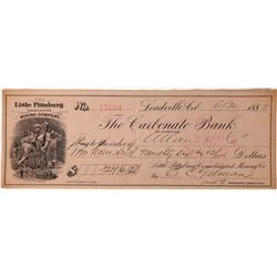 Little Pittsburg Consolidated Mining Company Embossed Check, Carbonate Bank   (123603)