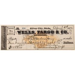 Owyhee Mining Company Revenue Check, Silver City, Idaho   (123715)