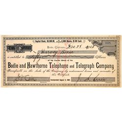Bodie & Hawthorne Telephone & Telegraph Co. Stock Signed by JS Cain  (126244)