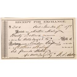 Rare Wells Fargo & Co. Receipt for Exchange - December 7th, 1878  (123536)