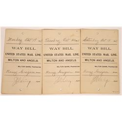 United State Mail Line Way-Bills, Milton and Angels (Black Bart)  (125929)