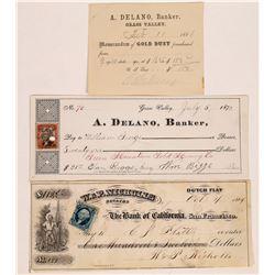 Central California Checks: A. Delano Grass Valley and W & P Nicholls