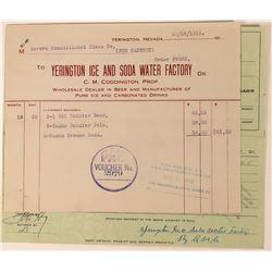 Yerington Ice & Soda Water Factory Billhead  (113494)