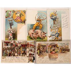Circus Pioneer Litho Postcards (5)  (127314)