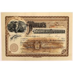 World's Columbian Exposition Stock Certificate  (126303)