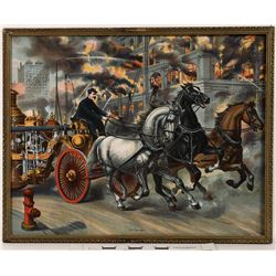 3519 Fire Fighters - Chromolithograph in Antique Frame  (122319)