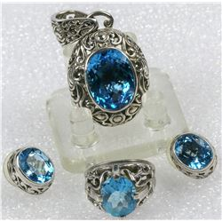 Blue Topaz and Silver Filigree Set  (126693)