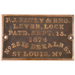 P.J. Pauly Temporary Jail Cell Bronze Plaque  (125599)