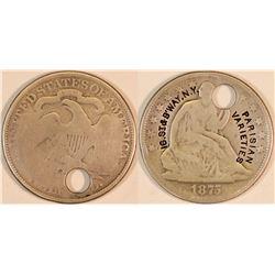 Parisan Counterstamped Seated Liberty Half Dollar, 1875  (127066)