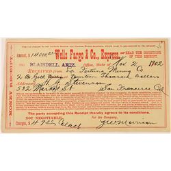 Rare Blaisdell Wells Fargo Receipt for Two Gold Bars.   (123737)