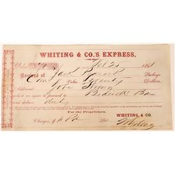 Receipt from Whiting & Co.'s Express To Bidwell Bar, California 1861   (123733)