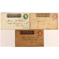 Three Mariposa Wells Fargo Covers with 3 different stamps, 3 different stamp colors and 3 different