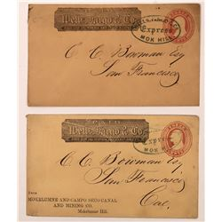 Two Mok Hill, Mokelumne Hill, Wells Fargo Covers - One a Mining Advertising Cover  (123771)
