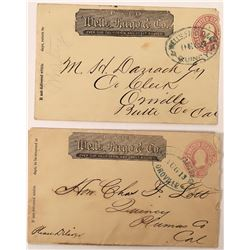 Two Wells Fargo Covers: one Quincy to Oroville and the other reversed  (123810)