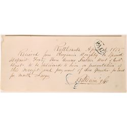 Rattlesnake Receipt for 43 Oz. Gold Dust to Baldwin & Co. Agent Wells Fargo   (123725)