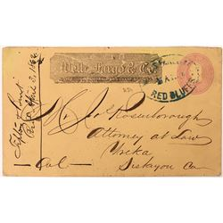 Red Bluff Wells Fargo Stamped Envelope, 1862  (123804)