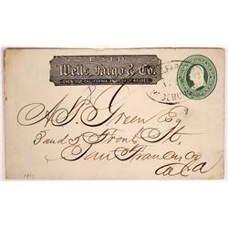 Roseburg Wells Fargo Cover, 1871  (123787)