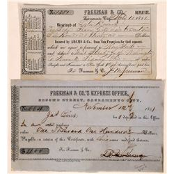Two Different Freeman & Company Express Receipts with Important Signatures  (126761)