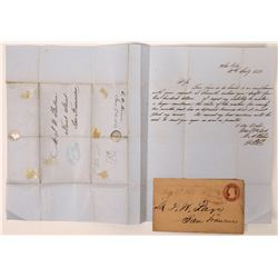 Two Early Wells Fargo, Sacramento Covers - One is a Coverless Letter  (123767)