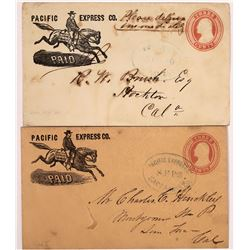 Two Pacific Express Co. Paid Covers with Horse and Rider Pictorial  (123794)