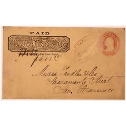 "Yankee Jim's Wells Fargo Cover with Red Stamp, ""Over Our, California and Coast Routes""  (123802)"
