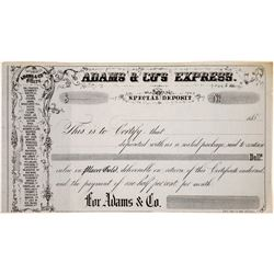 Adams & Co's Express Special Deposit Receipt blank form 185- (not used)  (126755)