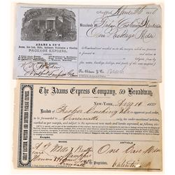 Two Early Adams & Co. Receipts (1850)  (123742)