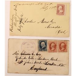 Two Nice Brownsville, Yuba, California Covers  (123772)