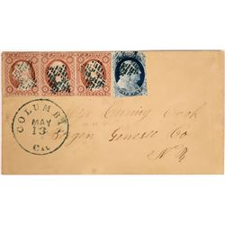 Columbia, Tuolumne, California Cover with Nice Set of Stamps  (123788)